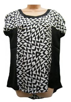 WOMENS BLACK/WHITE MARINA KANEVA CASUAL FLOATY SUMMER TOP BLOUSE SIZE 16