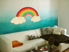Rainbow wall sticker Wall decor or Macbook decal   Looks like painted.  Made of high quality vinyl with mat finish   Easy to install - just peel and stick  The length is 60 cm   Other...