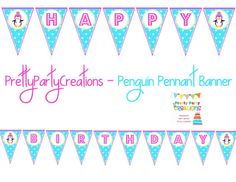 pennant banner for girls first birthday party, winter one-derland theme, onederland, penguin, invites, invitations