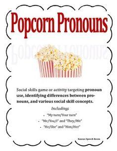 Pronoun/Grammar/Social Skills activity or game. SLP. School Speech Pathology
