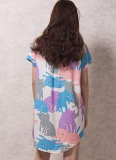 Simple Cheap Chic,Dress With Chic,Express Your Style,Make every day different,Shop Multicolor Cartoon Cat Print Short Sleeve Longline Shirt online