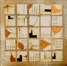 In plaats van bladeren schilder fragmenten op de boekteksten,