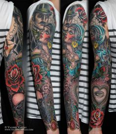 Tattoo Sleeve by Valerie Vargas. 8531 Santa Monica Blvd West Hollywood, CA 90069 - Call or stop by anytime. Gypsy Tattoo Sleeve, Arm Tattoo, Body Art Tattoos, Gypsy Tattoos, Arabic Tattoos, Tattoo Sleeves, Tattoo Time, Badass Tattoos, Tattoo Art