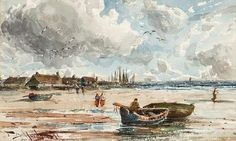 Thomas Bush Hardy, Beached Fishing Boats with Figures, in a coastal landscape