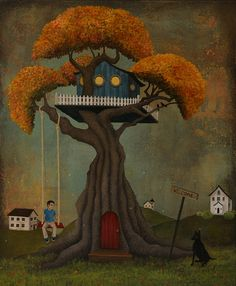 The Fantastic Treehouse-Archival print from original acrylic painting