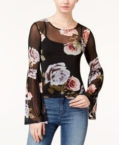 Polly & Esther Juniors' Printed Bell-Sleeve Top - Black XL