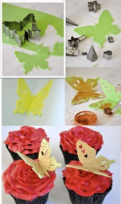 TheFoodClass: How to make a sugar craft butterfly Fondant Butterfly, Fondant Flowers, Sugar Flowers, Cake Decorating Techniques, Cake Decorating Tutorials, Cookie Decorating, Fondant Cakes, Cupcake Cakes, Cupcake Toppers