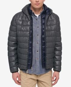 Tommy Hilfiger Men's Layered Packable Puffer Jacket - Gray XXL