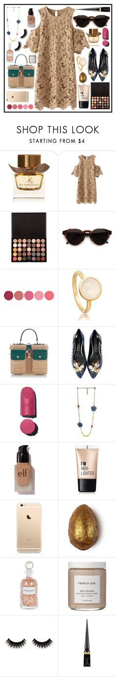 """""""Untitled #974"""" by meli111 on Polyvore featuring Burberry, RetroSuperFuture, Kjaer Weis, Dolce&Gabbana, Marc Jacobs, e.l.f., Charlotte Russe, Mullein & Sparrow, French Girl and Christian Louboutin"""