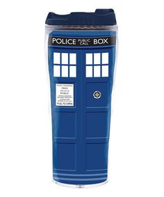 Get up and going with this Doctor Who travel mug. Made with characteristic colors and imagery, it can hold up to 12 ounces of your favorite drink to help power through early mornings and afternoon meetings. Doctor Who 12, Police Call, Tardis, Travel Mug, Mugs, Birthday Gifts, Geek, Gift Ideas, Coffee