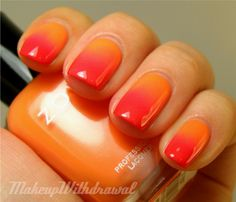 Not sure how to use that orange nail polish? Check out these orange nails for ideas this summer! Trendy Nails, Cute Nails, My Nails, Polish Nails, Faded Nails, Gradient Nails, Nail Polish Designs, Nail Art Designs, Two Tone Nails