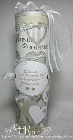 """Karins Kreativstube: Gutscheinrolle Hochzeitstag """"Gundi & Gerhard"""" beig..."""