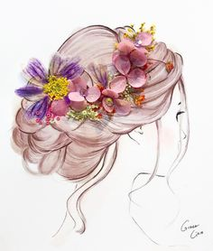 mentions J'aime, 30 commentaires - Grace Ciao ( sur Instagra. Art And Illustration, Grace Ciao, Girly Drawings, Pressed Flower Art, Anime Art Girl, Cute Art, Creative Art, Art Sketches, Watercolor Art