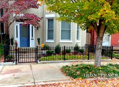 3ft tall Classic style wrought iron fence and 3.5ft wide wrought iron gate added to a small front courtyard