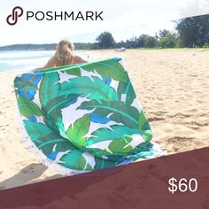 Last One! Round beach blanket Round Beach Blanket, 5 to 6 feet in diameter, very versatile,  can be used as home Decor, a beautiful picnic blanket or fabulous throw for the beach! 100% cotton, vegetable dye, screen/block printed, Hand made in India. A DONATION TO FEEDING AMERICA IS MADE WHEN PURCHASED. Beach Life Is So Sweet Accessories