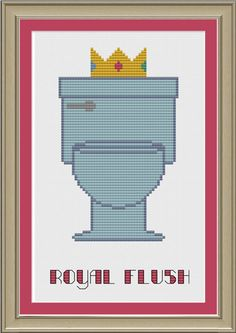 Royal flush funny toilet crossstitch by nerdylittlestitcher, $3.00
