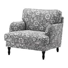 STOCKSUND Armchair, Hovsten gray/white, black/wood - Hovsten gray/white - black - IKEA