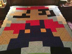 Granny Square Super Mario blanket. WOW :O