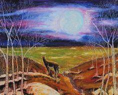 Title  Deer On The Plain   Artist  Jeanne Fischer   Medium  Painting - Oil Pastel On Cardboard