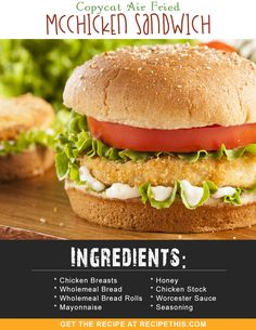 Slimming World Friendly - Copycat Air Fried McChicken Sandwich Mcdonalds Chicken, Sandwiches, Homemade Mayonnaise, Breaded Chicken, Chicken Sandwich, Air Fryer Recipes, Sandwich Recipes, Food Processor Recipes, Fries
