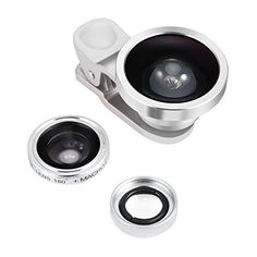 Amir 3 in 1 Clip on Camera Lens Kit Bundle of Fisheye Lens Macro Lens 04X Super Wide Angle Lens for Smartphones Silver -- Learn more by visiting the image link.