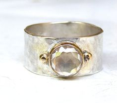 Handmade Engagement Ring White Topaz stone Lab created by OritNaar