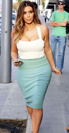 Kim Kardashian 2014 Mint Pencil Skirt White Crop Top
