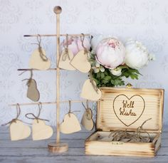 Wedding Guest Book With Wood Tree Rustic Well Wishes Box Personalized Decor (item E10496). $69.99, via Etsy.