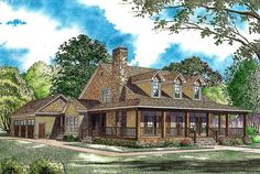 """<ul><li>This beautiful country home plan offers a huge wraparound front porch and has a side loading 3-car garage.</li><li>A derivative of house plan <a href=""""http://www.architecturaldesigns.com/house-plan-5921ND.asp"""">5921ND</a>, the great room has a fireplace and is open to the kitchen.</li><li>The kitchen features a large island bar, a walk-in pantry, breakfast nook, dining room, and access to the g..."""