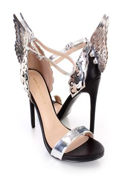 These sexy and super trendy single sole heels include a faux leather upper with a strap vamp and open toe, metallic faux leather ankle strap and perforated wings, side buckle closure, smooth lining, and cushioned footbed. Approximately 4 3/4 inch heels.http://www.amiclubwear.com/shoes-heels.html