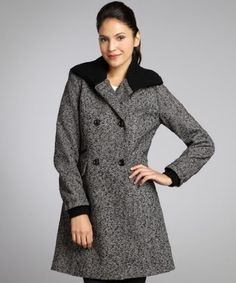 Nicole Miller black and white tweed wool blend knit collar double breasted coat