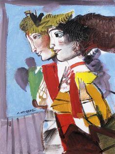 Two Figures - Dimitris Mytaras Art Paintings For Sale, Original Paintings For Sale, Greece Painting, Greek Art, Classical Art, Urban Art, Art Forms, Art Images, Modern Art