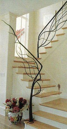 Tree railing staircase