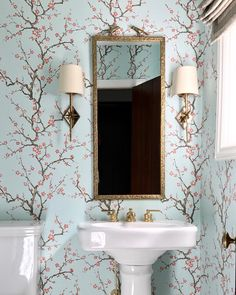 Quadrille Cherry Branch wallpaper by Ken Gemes