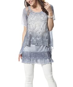 This Simply Couture Blue Lace Layered Tunic by Simply Couture is perfect! #zulilyfinds