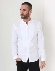 The white Division shirt from Pearly King's Border Land King's collection has a concealed button up front with grandad collar and textured panel around the placket. Spring Cleaning, Chef Jackets, King, Shirt Dress, Wimbledon, Mens Tops, Shirts, Clothes, Fashion