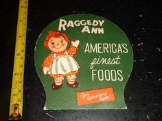 BB489 Vintage Raggedy Ann America's Finest Foods Ad Needle book