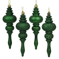"8ct Emerald Green 4-Finish Regal Shatterproof Finial Christmas Ornaments 7"""