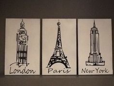 London Paris New York... Black and white 3 by CustomSignDesigns, $45.00