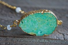 Chrysoprase NecklaceMint Green Stone by AmeyaaJewelry on Etsy