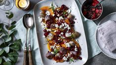 Roast butternut squash with cranberry relish and feta recipe - bbc food Salad Recipes For Dinner, Healthy Salad Recipes, Healthy Foods To Eat, Veggie Recipes, Veggie Meals, Pumpkin Recipes, Lunch Recipes, Healthy Eating, The Menu