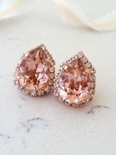 Earrings Blush pink crystal earrings Blush pink Swarovski