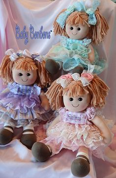 Valentine's Personalized Baby Rag Doll  dressed in by Babybonbons
