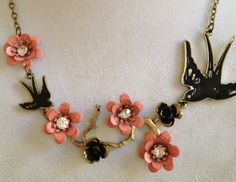 Bird with Flower and Crystal Necklace by joytoyou41 on Etsy, $35.00