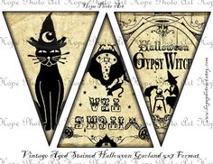 Halloween Witches Printable make your own party garland collage in 5x7 size flag images. This image is great for fabric image transfers,
