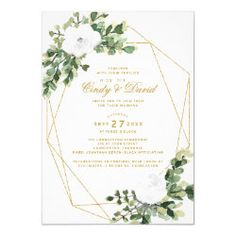Shop Wedding Invitation White Rose and Gold Terrarium created by OnceUponaPaper. Flower Invitation, Wedding Invitation Design, Zazzle Invitations, Party Invitations, Gold Terrarium, Beautiful Lights, White Roses, White Envelopes, Paper Design