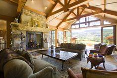 Stone fireplace by Bercovitz Design Architects