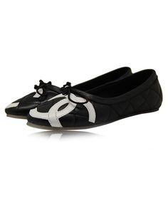 Chanel Flats Round Toe Double CC 8234 Black
