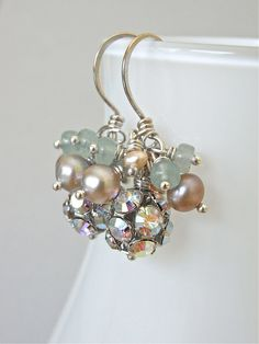 The Mint Mousse earrings - super sparkly Swarovksi crystal studded beads are combined with aventurine heishi and freshwater pearls - all housed on shiny sterling hand forged ear wires.