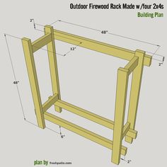 Free firewood rack plan built from four 2x4s only and glued